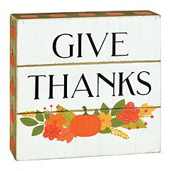 Belle Maison 'Give Thanks' Thanksgiving Box Sign Art