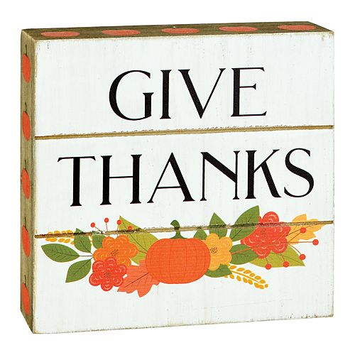"Belle Maison ""Give Thanks"" Thanksgiving Box Sign Art"