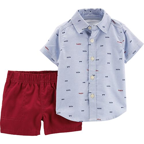 Baby Boy Carter's Button Down Shirt & Canvas Shorts Set