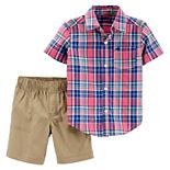 Toddler Boy Carter's Plaid Button Down Shirt & Khaki Shorts Set