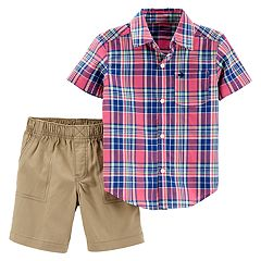 Toddler Boy Carter's Plaid Button Down Shirt & Khaki Shorts Set