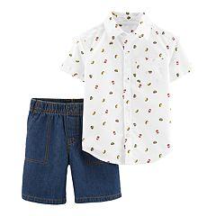 Toddler Boy Carter's Patterned Button Down Shirt & Denim Shorts Set