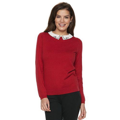 NEW Women/'s ELLE Ribbed Peplum Sweater long sleeve crew neck with collar