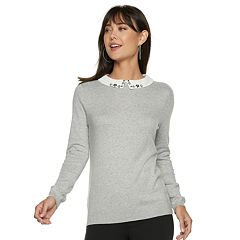 Women's ELLE™ Embellished Collar Sweater