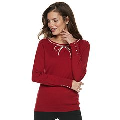Women's ELLE™ Simulated-Pearl Bow Sweater
