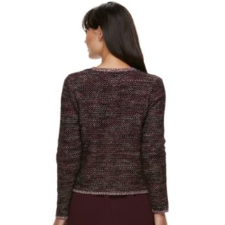 Women's ELLE? Tweed Open-Front Cardigan