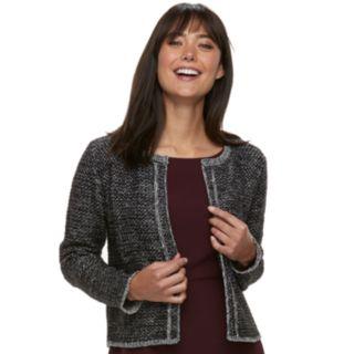 Women's ELLE? Tweed Open-Front Cardigan
