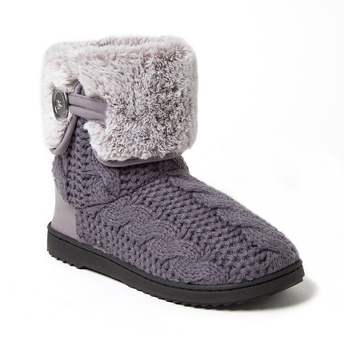 Women's Dearfoams Cable Knit Boot Slippers