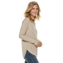 Women's SONOMA Goods for Life™ Geometric Twist Cable-Knit Sweater