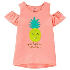 Girls 4-12 Neon Flip Sequin Pineapple Cold-Shoulder Slub Top