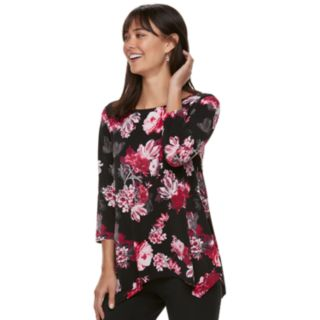 Women's ELLE? Print Handkerchief-Hem Top