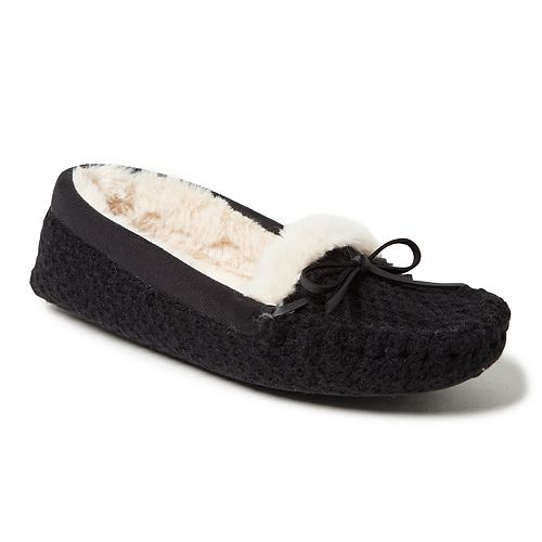 Women's Dearfoams Mixed Materials Moccasin Slippers