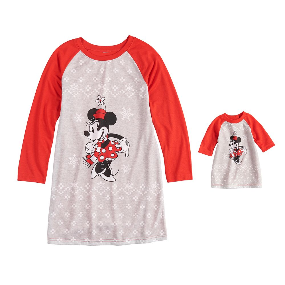 Disney's Minnie Mouse Girls 4-10 Minnie Nightgown & Doll Gown Pajama Set by Jammies For Your Families