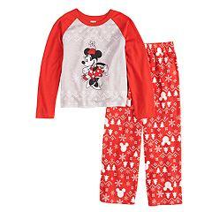 6bc375c031 Disney s Minnie Mouse Girls 4-12 Minnie Top   Fairisle Microfleece Bottoms  Pajamas Set by