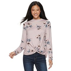 Juniors' Pink Republic Twist Front Mockneck Tee