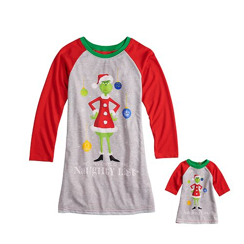c5100f9ef5e0 Girls 4-12 Jammies For Your Families How the Grinch Stole Christmas Grinch