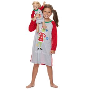"Girls 4-12 Jammies For Your Families How the Grinch Stole Christmas Grinch ""He Invented the Naughty List"" Nightgown & Doll Gown Pajama Set"