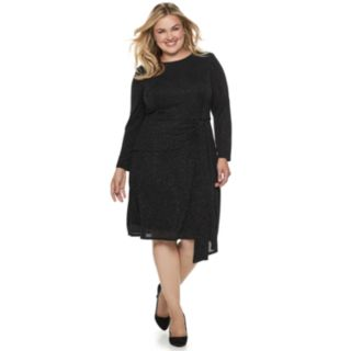 Plus Size Suite 7 Glitter Long Sleeve Dress