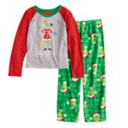 "Girls 4-12 Jammies For Your Families How the Grinch Stole Christmas Grinch ""He Invented the Naughty List"" Top & Microfleece Bottoms Pajama Set"
