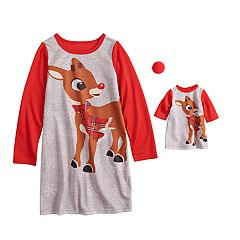 Girls 4-10 Jammies For Your Families Rudolph the Red-Nosed Reindeer Nightgown & Doll Gown Pajama Set