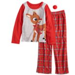 Girls 4-12 Jammies For Your Families Rudolph the Red-Nosed Reindeer Top & Plaid Bottoms Pajama Set with Red Nose Accessory
