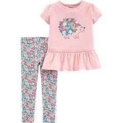 Toddler Girl Carter's Hedgehog Graphic Top & Floral Leggings Set