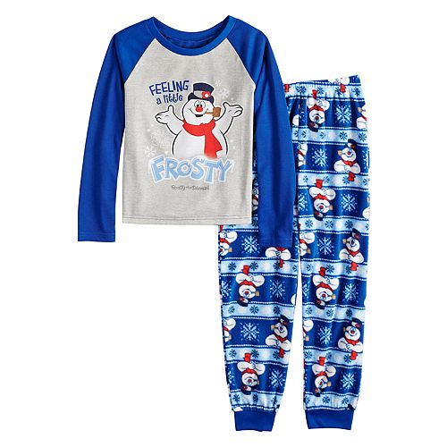 """Girls 4-12 Jammies For Your Families Frosty the Snowman """"Feeling a Little Frosty"""" Top & Microfleece Bottoms Pajama Set"""