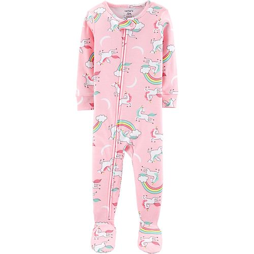f01ce9063 Toddler Girl Carter's Unicorn & Rainbow Footed Pajamas