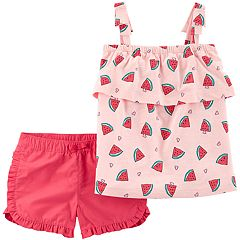 Girls Carter's 2-Piece Watermelon Tank & Twill Short Set