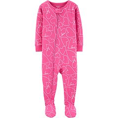 Baby Girl Carter's Heart Printed Footed Pajamas