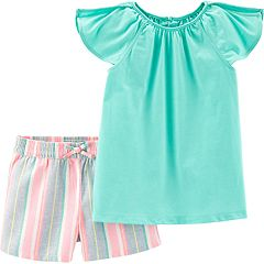 Girls 4-8 Carter's Flutter Top & Striped Linen-Blend Shorts