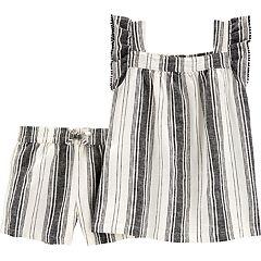 Girls 4-8 Carter's Striped Linen-Blend Tank Top & Shorts Set