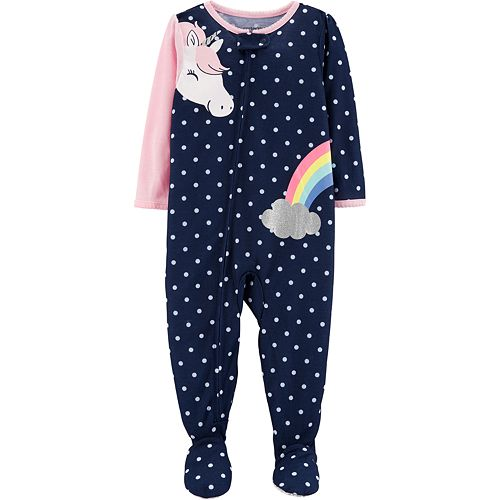 Toddler Girl Carter's Unicorn & Rainbow Polka-Dot Footed Pajamas