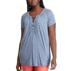 Plus Size Chaps Print Lace-Up Top