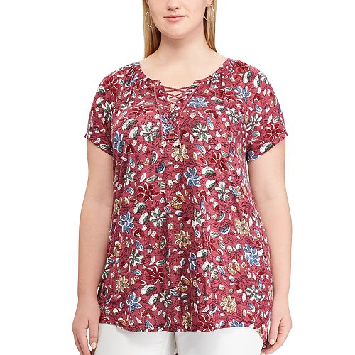 Plus Size Chaps Print Lace-Up Top