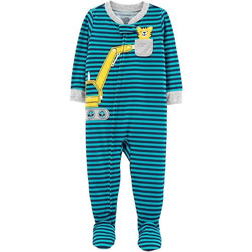 Toddler Boy Carter's Construction Striped Footed Pajamas