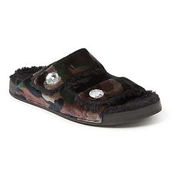 e7ec03206acb Women s Dearfoams Patterned Double Strap Slide Slippers. Leopard  Camouflage. sale