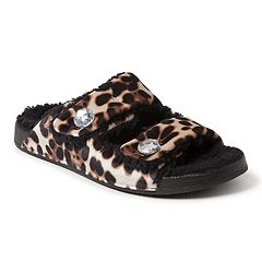 Women's Dearfoams Patterned Double Strap Slide Slippers