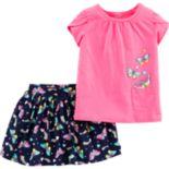 Toddler Girl Carter's Butterfly Tee & Skort Set