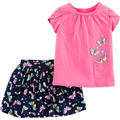 Toddler Girl Carter's Butterfly Tee & Skort Set