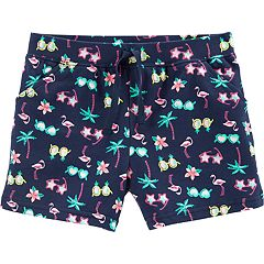 Girls 4-14 Carter's Sunglasses & Palm Trees Knit Shorts