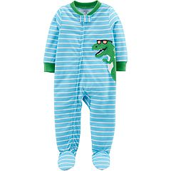 Toddler Boy Carter's Striped Dinosaur Footed Pajamas
