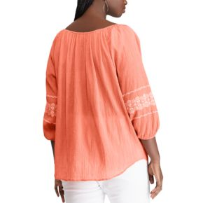 Plus Size Chaps Embroidered Off-The-Shoulder Top