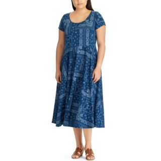 Plus Size Chaps Printed Midi Dress