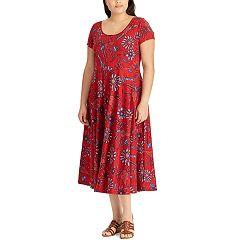 Plus Size Chaps Printed Midi Dress