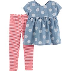 Toddler Girl Carter's Polka-Dot Chambray Babydoll Top & Striped Leggings Set