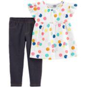 Toddler Girl Carter's Polka-Dot Babydoll Top & Jeggings Set