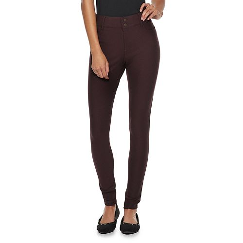 Juniors' Rewind Mid-Rise Double Button Ponte Leggings