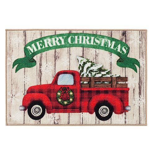 Natco Merry Christmas Tree Truck Accent Rug - 20'' x 30''