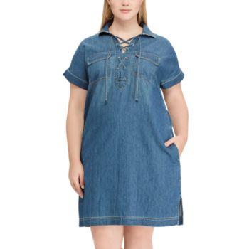 Plus Size Chaps  Lace-Up Denim Dress